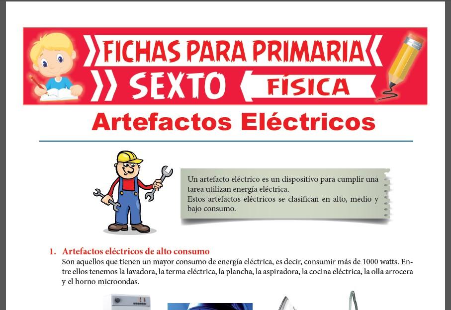 Ficha de Tipos de Artefactos Eléctricos para Sexto Grado de Primaria