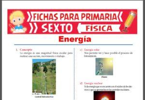 Ficha de Tipos de Energía para Sexto Grado de Primaria