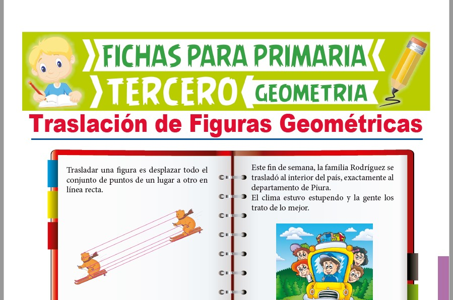 Ficha de Traslación de Figuras Geométricas para Tercer Grado de Primaria