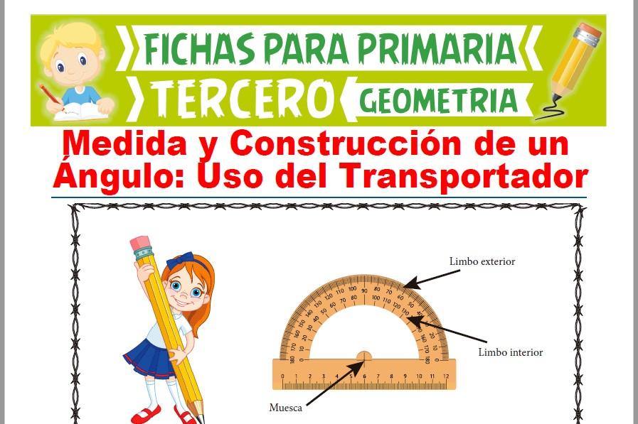 Ficha de Usando el Transportador para Medir Ángulos para Tercer Grado de Primaria