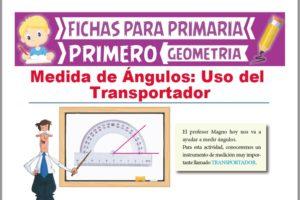 Ficha de Uso del transportador para Medir Ángulos para Primer Grado de Primaria