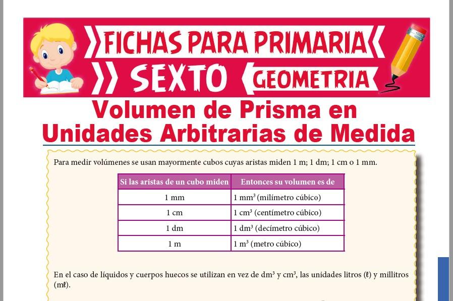 Ficha de Volumen de un Prisma para Sexto de Primaria