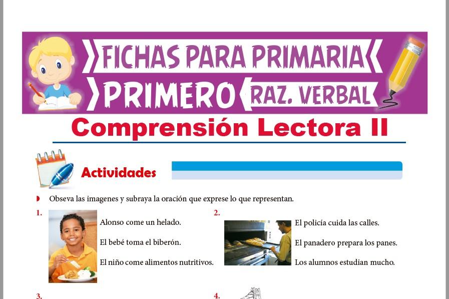 Ficha de Actividades de Comprensión Lectora para Primer Grado de Primaria