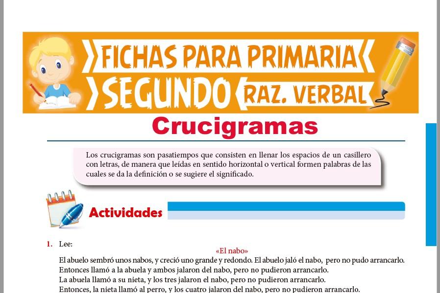 Ficha de Actividades de Crucigramas para Segundo Grado de Primaria
