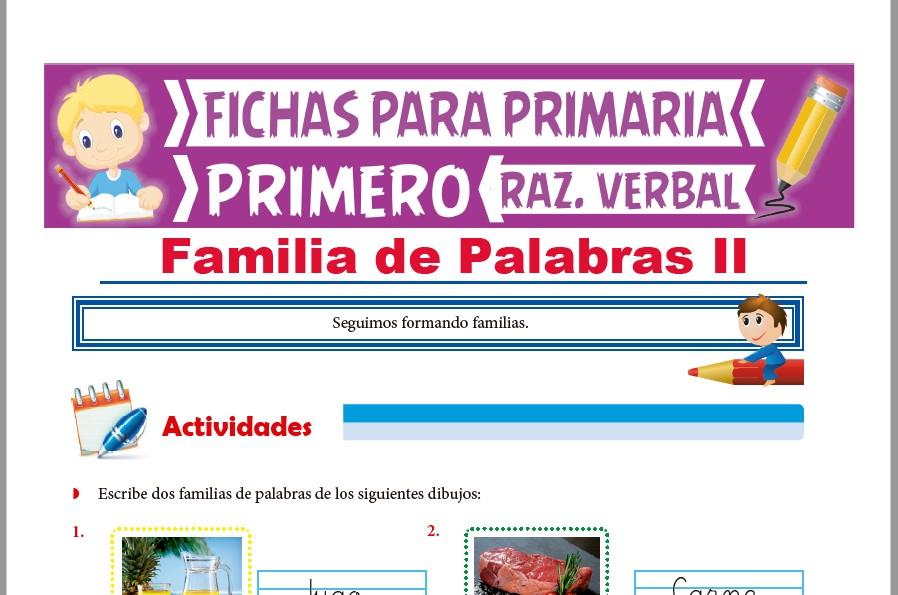 Ficha de Actividades de Familia de Palabras para Primer Grado de Primaria