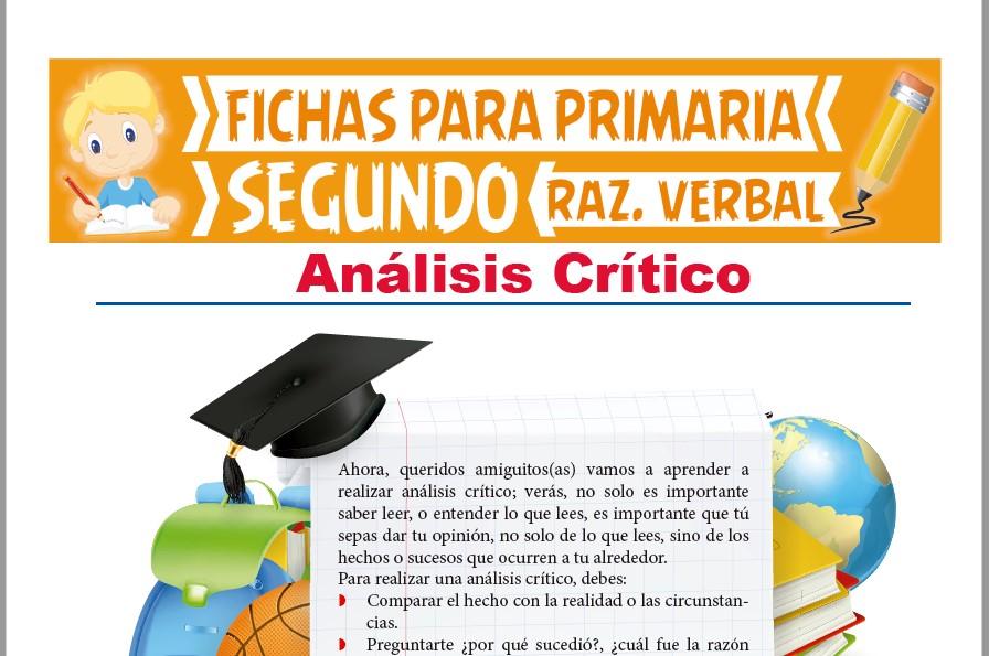 Ficha de Actividades sobre el Análisis Crítico para Segundo Grado de Primaria
