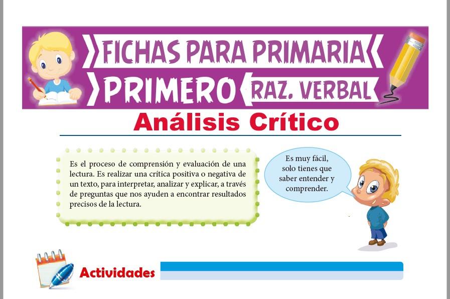 Ficha de Análisis Crítico para Primer Grado de Primaria
