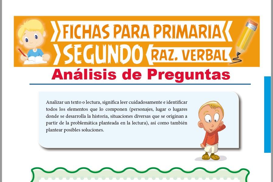 Ficha de Análisis de preguntas para Segundo Grado de Primaria