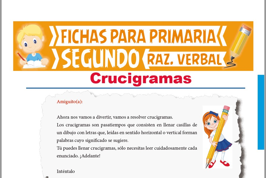 Ficha de Crucigramas para Segundo Grado de Primaria
