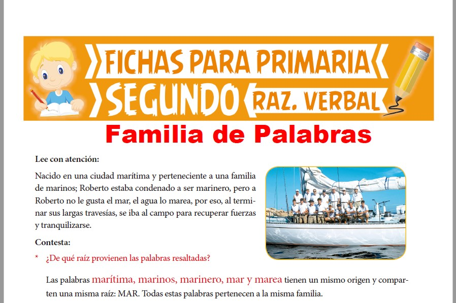 Ficha de Ejercicios de Familia de Palabras para Segundo Grado de Primaria