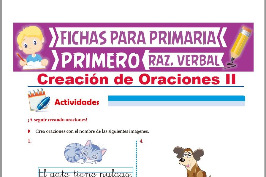 Ficha de Elaboración de Oraciones para Primer Grado de Primaria