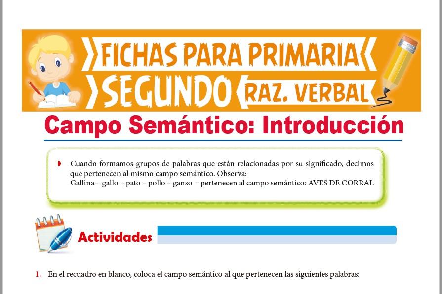 Ficha de Introducción al Campo Semántico para Segundo Grado de Primaria