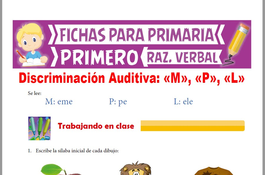 Ficha de Las Letras M P y L para Primer Grado de Primaria
