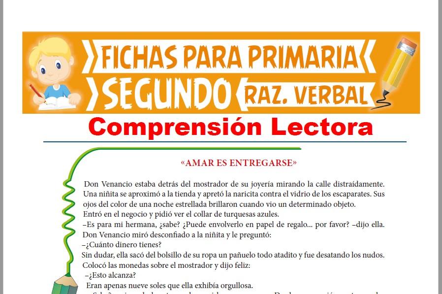 Ficha de Lectura Amar es Entregarse para Segundo Grado de Primaria