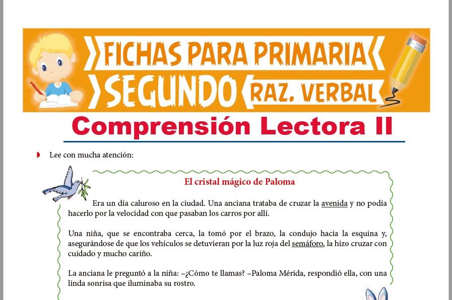 Ficha de Lectura El Cristal Mágico de Paloma para Segundo Grado de Primaria