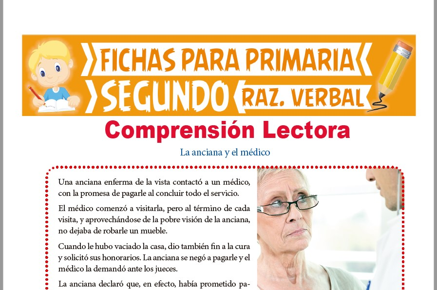 Ficha de Lectura La Anciana y el Médico para Segundo Grado de Primaria