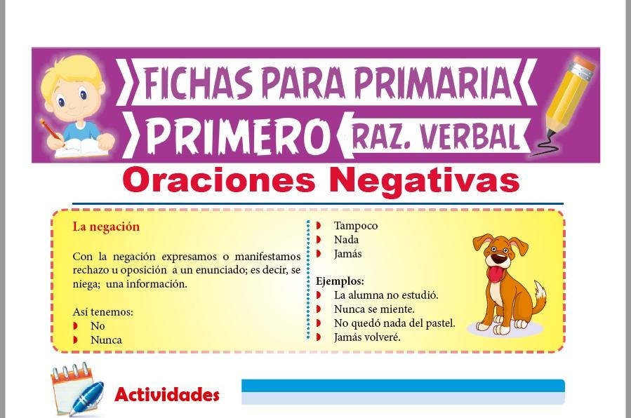 Ficha de Oraciones Negativas para Primer Grado de Primaria