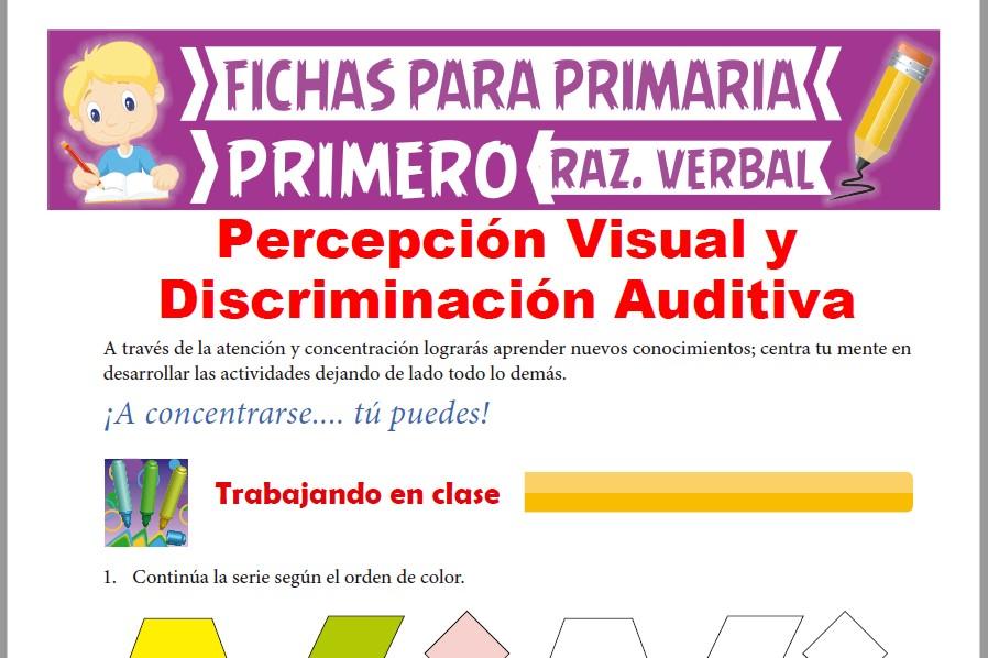 Ficha de Percepción Visual y Discriminación Auditiva para Primer Grado de Primaria
