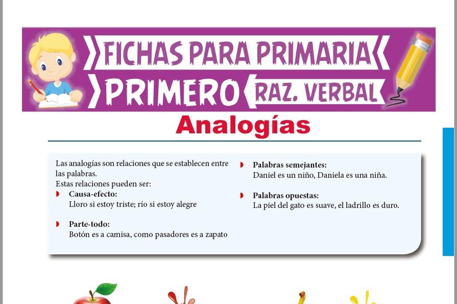 Ficha de Qué son las Analogías para Primer Grado de Primaria