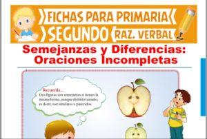 Ficha de Semejanzas y Diferencias para Segundo Grado de Primaria