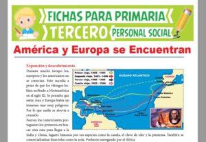 Ficha de América y Europa para Tercer Grado de Primaria