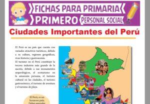 Ficha de Ciudades Importantes del Perú para Primer Grado de Primaria