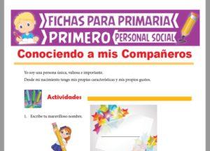 Ficha de Conociendo a mis Compañeros para Primer Grado de Primaria