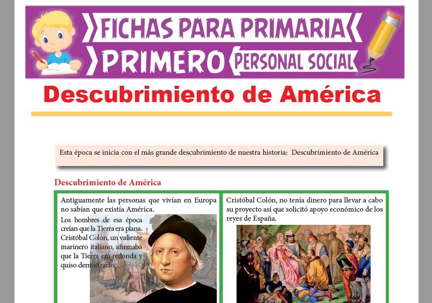 Ficha de Descubrimiento de América para Primer Grado de Primaria