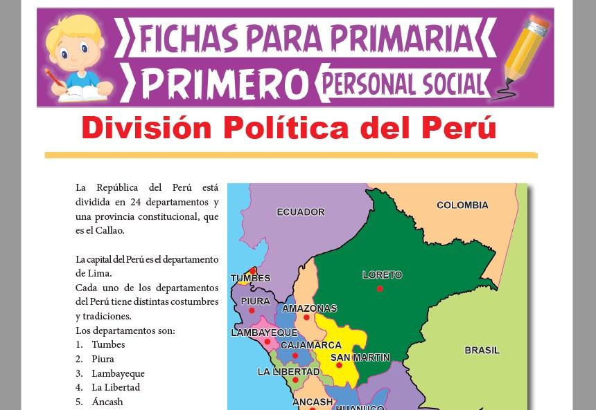 Ficha de División Política del Perú para Primer Grado de Primaria