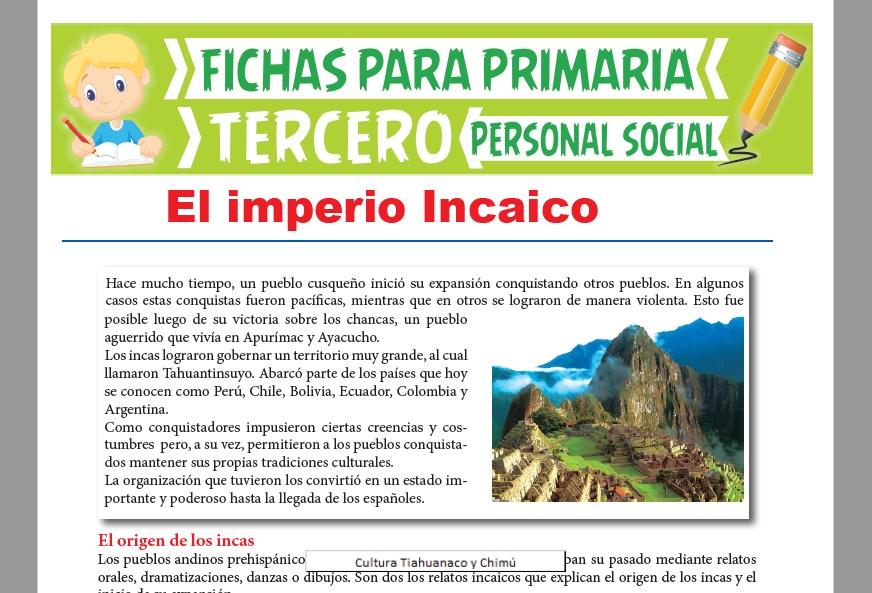 Ficha de El Imperio Incaico para Tercer Grado de Primaria