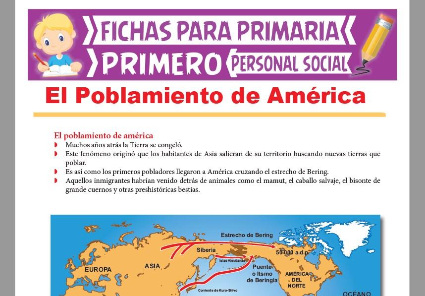 Ficha de El Poblamiento de América para Primer Grado de Primaria