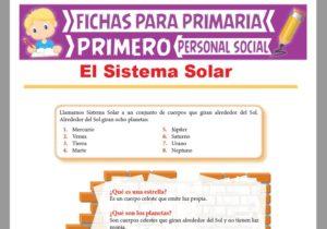 Ficha de El Sistema Solar para Primer Grado de Primaria