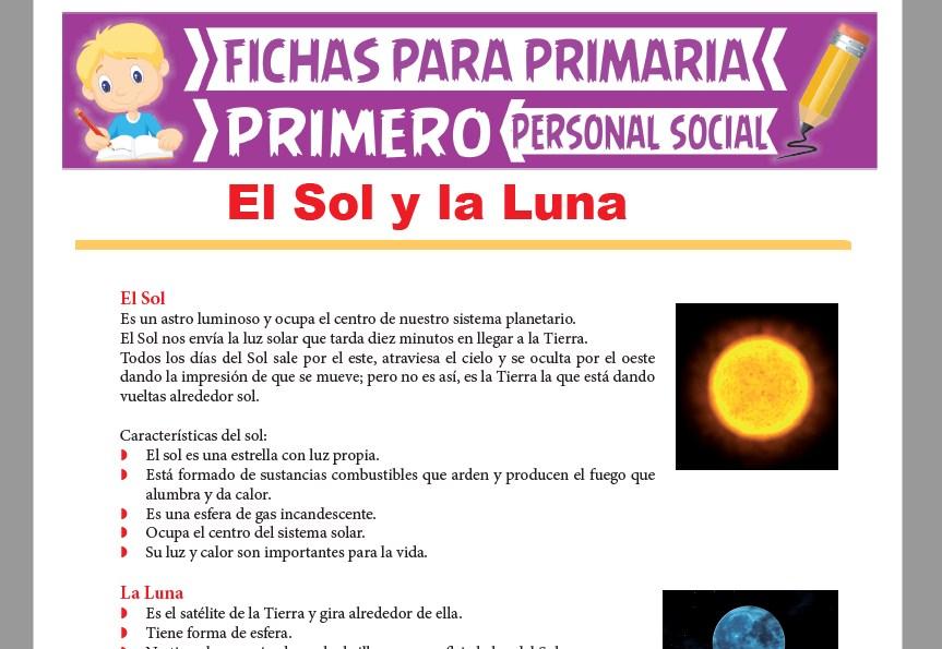 Ficha de El Sol y la Luna para Primer Grado de Primaria