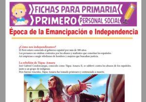 Ficha de Época de la Emancipación e Independencia para Primer Grado de Primaria