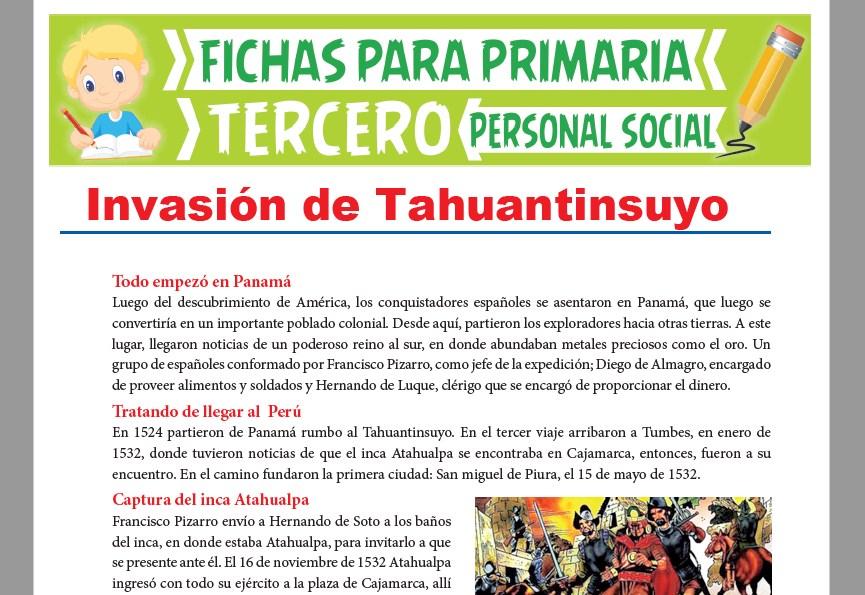 Ficha de Invasión del Tahuantinsuyo para Tercer Grado de Primaria