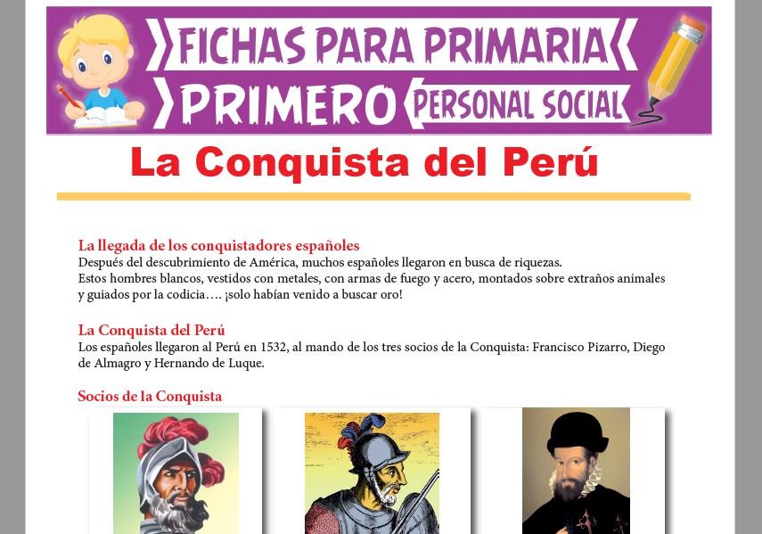 Ficha de La Conquista del Perú para Primer Grado de Primaria