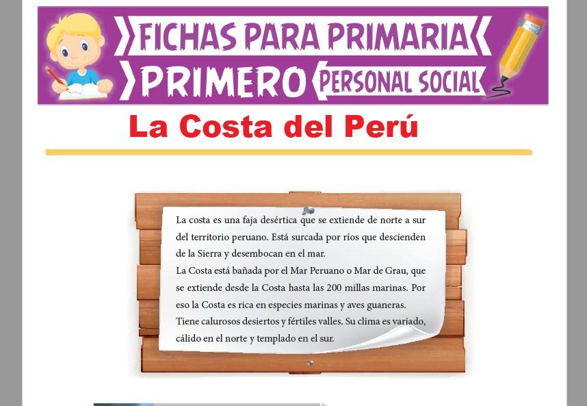 Ficha de La Costa del Perú para Primer Grado de Primaria