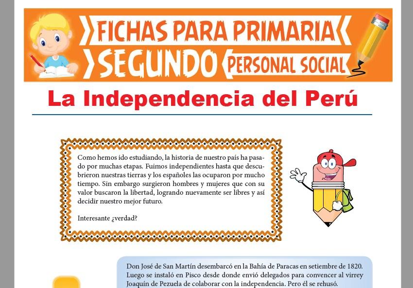 Ficha de La Independencia del Perú para Segundo Grado de Primaria