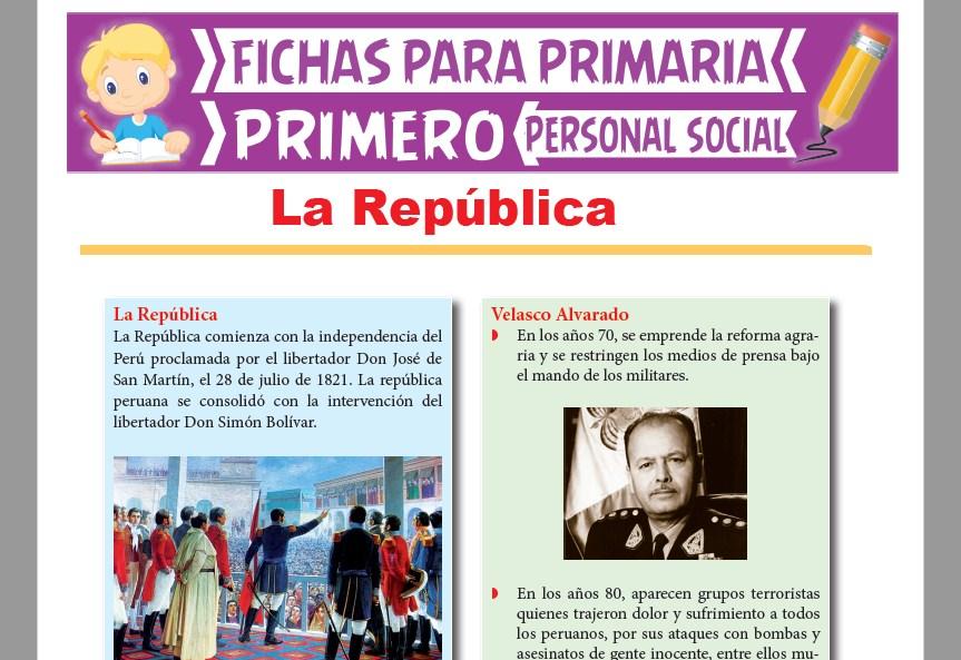 Ficha de La República para Primer Grado de Primaria