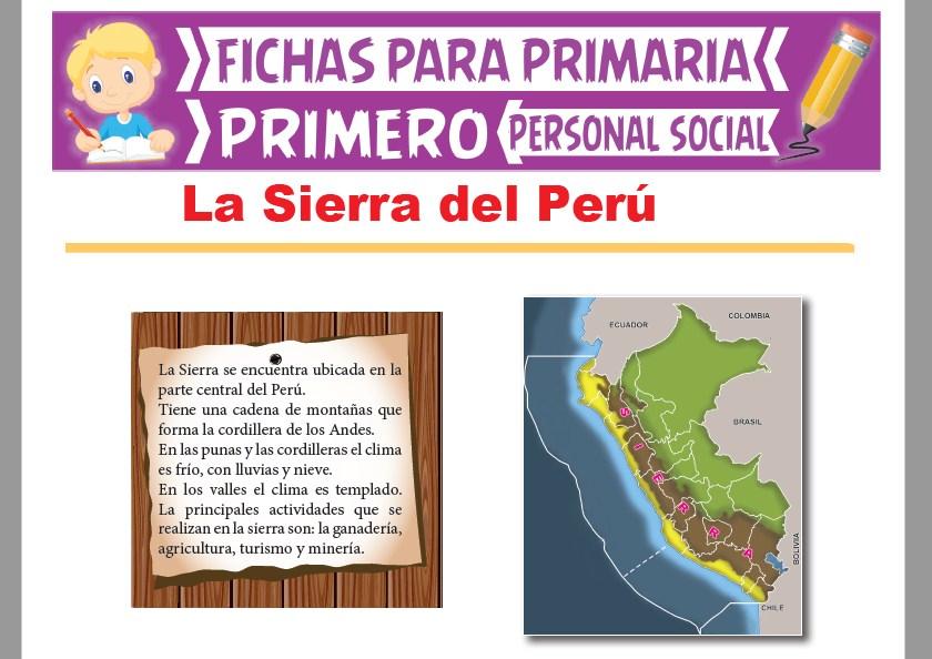 Ficha de La Sierra del Perú para Primer Grado de Primaria