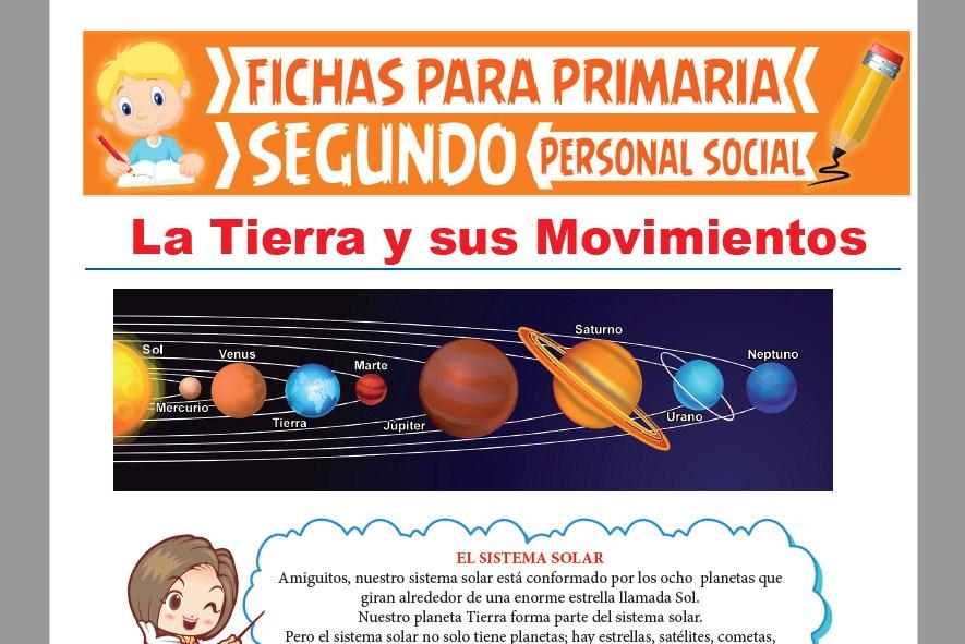 Ficha de La Tierra y sus Movimientos para Segundo Grado de Primaria