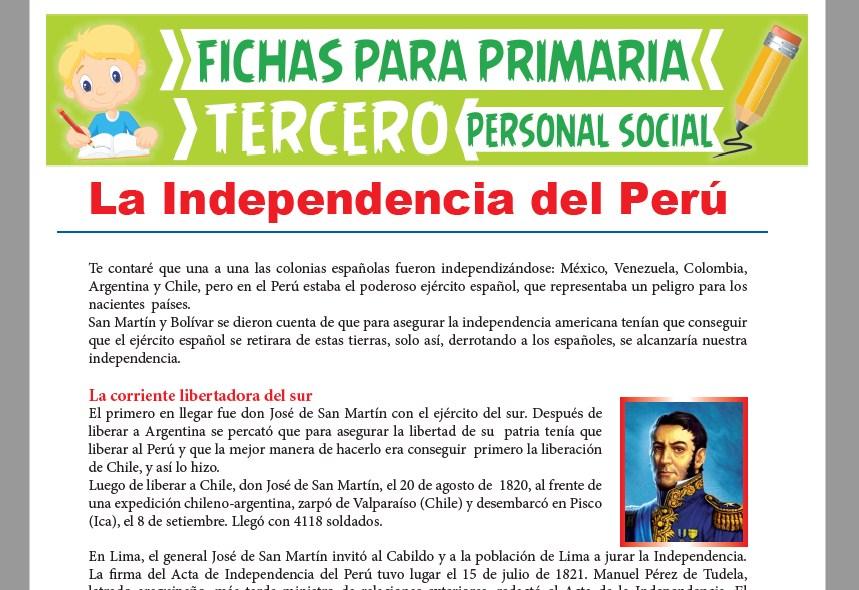 Ficha de Las Corriente Libertadoras para Tercer Grado de Primaria