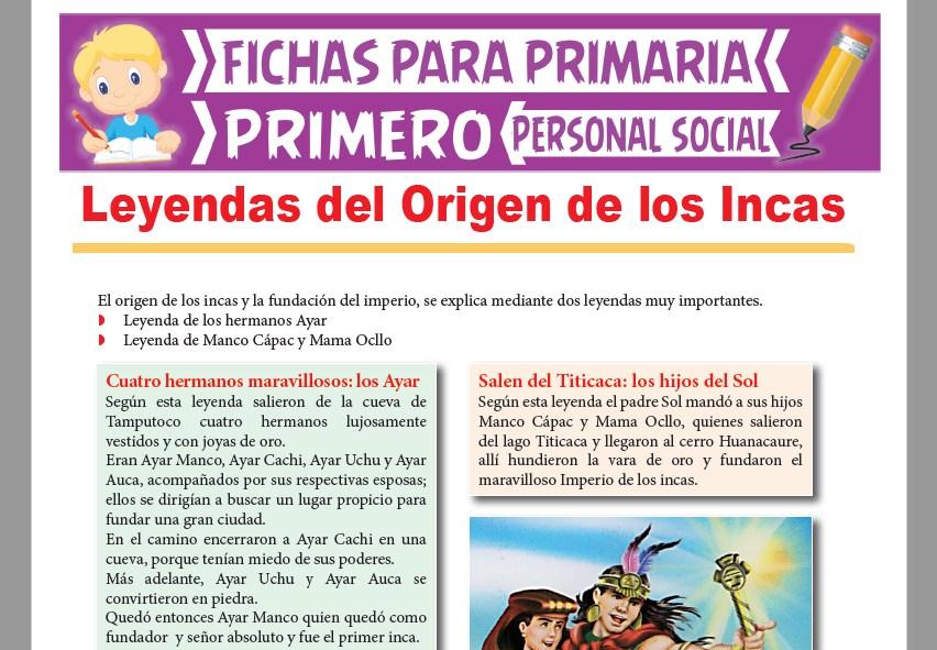 Ficha de Leyendas del Origen de los Incas para Primer Grado de Primaria