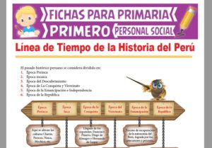 Ficha de Línea de Tiempo de la Historia del Perú para Primer Grado de Primaria