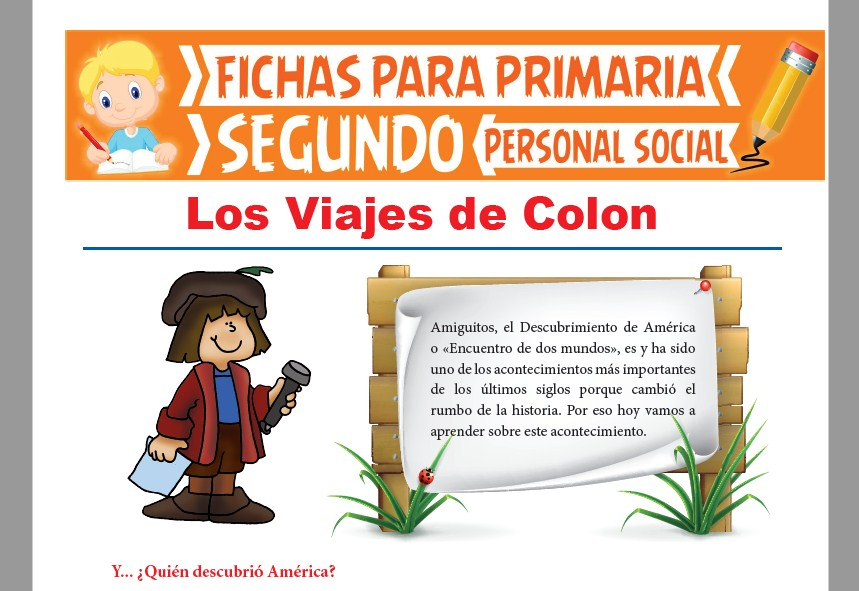 Ficha de Los Viajes de Colón para Segundo Grado de Primaria