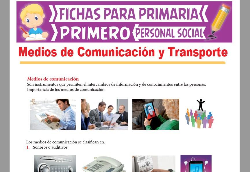 Ficha de Medios de Comunicación y Transporte para Primer Grado de Primaria