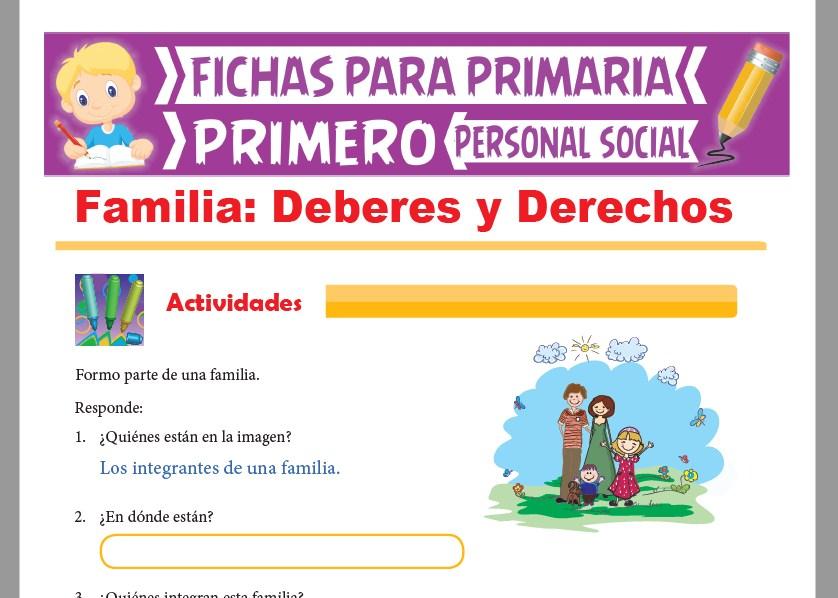 Ficha de Mi Familia para Primer Grado de Primaria