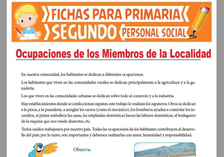 Ficha de Ocupaciones de los Miembros de la Localidad para Segundo Grado de Primaria