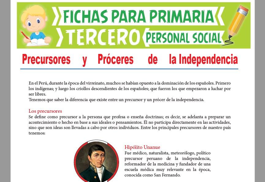 Ficha de Precursores y Próceres de la Independencia para Tercer Grado de Primaria