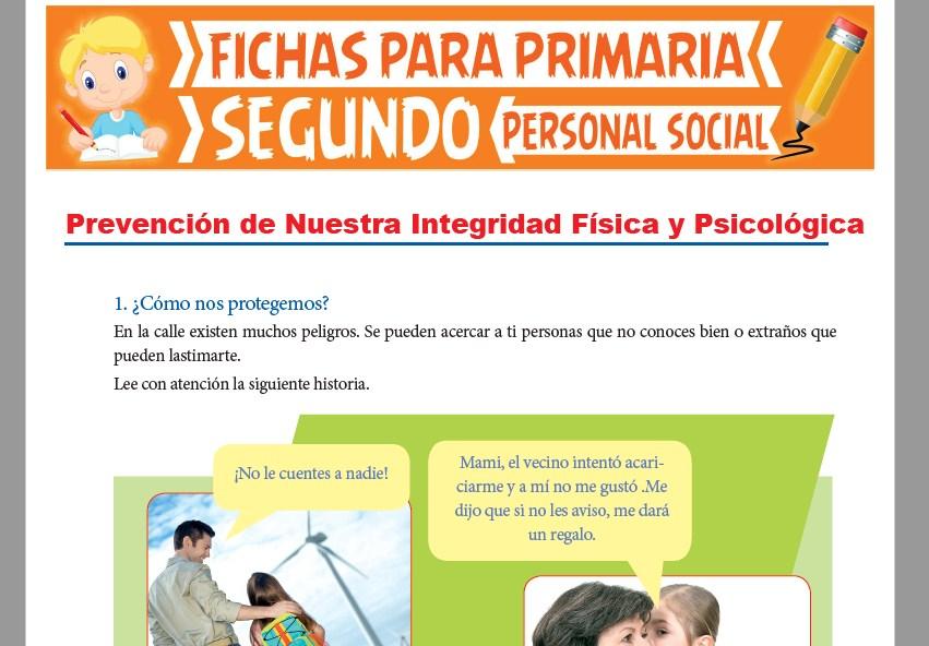 Ficha de Prevención de Nuestra Integridad Física y Psicológica para Segundo Grado de Primaria